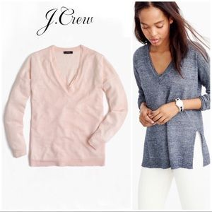 J. Crew Merino Wool-Linen V-neck Sweater in Peach